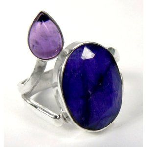 Genuine SAPPHIRE & Amethyst Sterling SILVER Ring